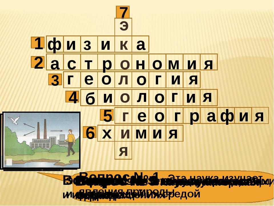 1 3 2 4 6 5 Вопрос № 1 Эта наука изучает явления природы Вопрос № 2 Эта наука...