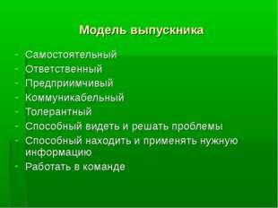 Модель выпускника Самостоятельный Ответственный Предприимчивый Коммуникабельн