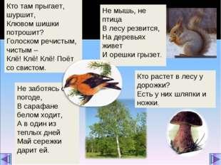 Не мышь, не птица В лесу резвится, На деревьях живет И орешки грызет. Кто там