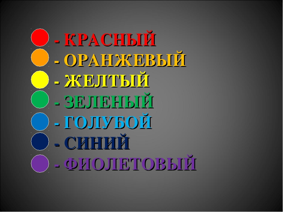 - КРАСНЫЙ - ОРАНЖЕВЫЙ - ЖЕЛТЫЙ - ЗЕЛЕНЫЙ - ГОЛУБОЙ - СИНИЙ - ФИОЛЕТОВЫЙ