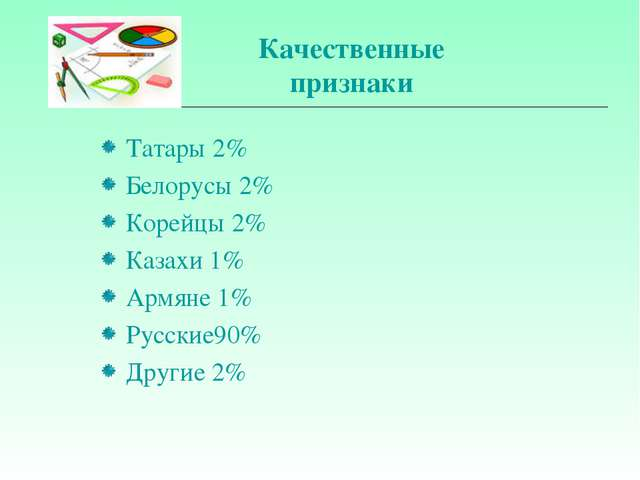 Качественные признаки Татары 2% Белорусы 2% Корейцы 2% Казахи 1% Армяне 1% Ру...