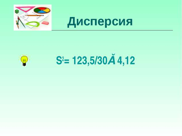Дисперсия S2= 123,5/30≈4,12