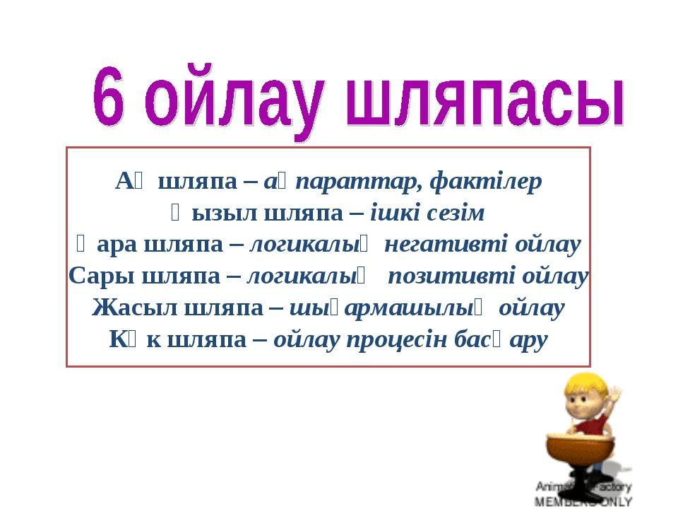 Ақ шляпа – ақпараттар, фактілер Қызыл шляпа – ішкі сезім Қара шляпа – логикал...