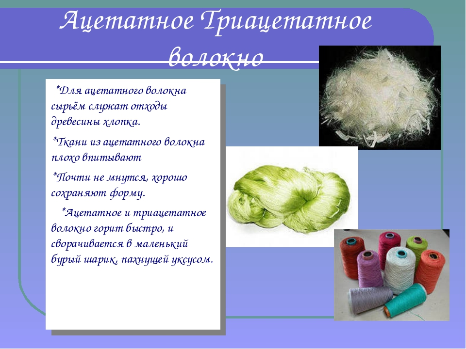 Ацетатное Триацетатное волокно *Для ацетатного волокна сырьём служат отходы д...