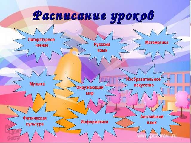 Русский язык Музыка Английский язык Физическая культура Изобразительное искус...