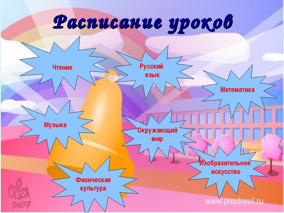 Русский язык Музыка Физическая культура Изобразительное искусство Математика...