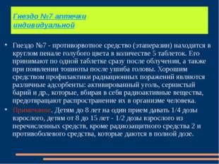 Гнездо №7 аптечки индивидуальной Гнездо №7 - противорвотное средство (этапера