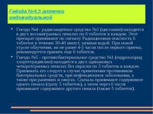 Гнёзда №4,5 аптечки индивидуальной Гнездо №4 - радиозащитное средство №1 (цис