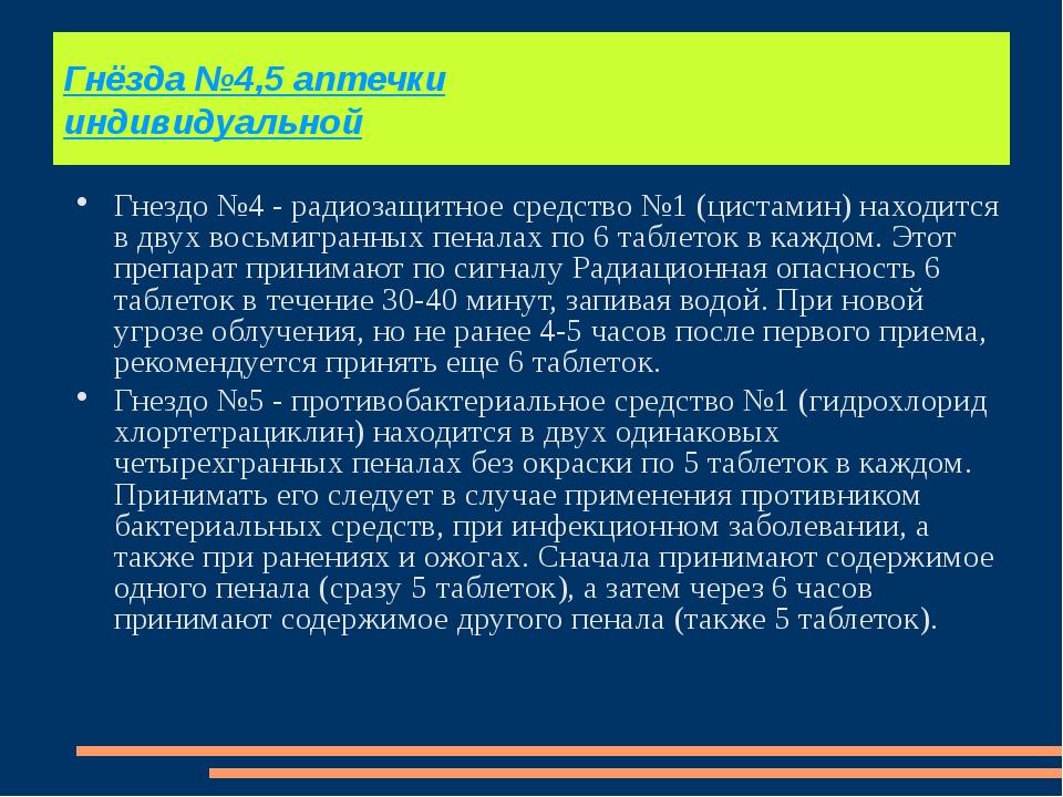 Гнёзда №4,5 аптечки индивидуальной Гнездо №4 - радиозащитное средство №1 (цис...