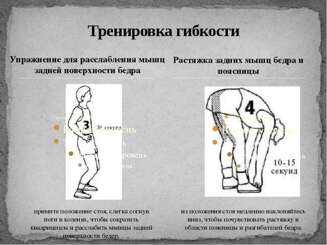 Упражнение для расслабления мышц задней поверхности бедра Тренировка гибкости...