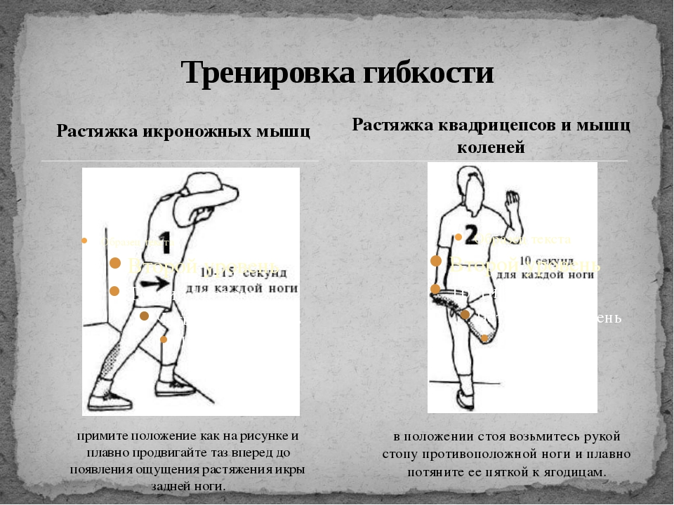 Растяжка икроножных мышц Тренировка гибкости Растяжка квадрицепсов и мышц кол...