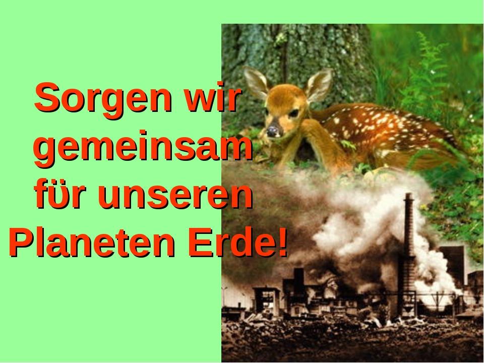 Sorgen wir gemeinsam fϋr unseren Planeten Erde!