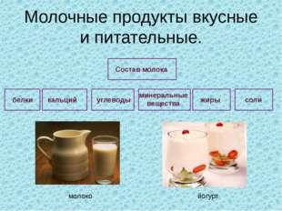 Молочные продукты вкусные и питательные. углеводы минеральные вещества жиры с