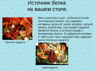 Источник белка на вашем столе. Мясо животных и рыб - богатый источник полноце