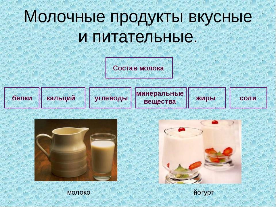 Молочные продукты вкусные и питательные. углеводы минеральные вещества жиры с...