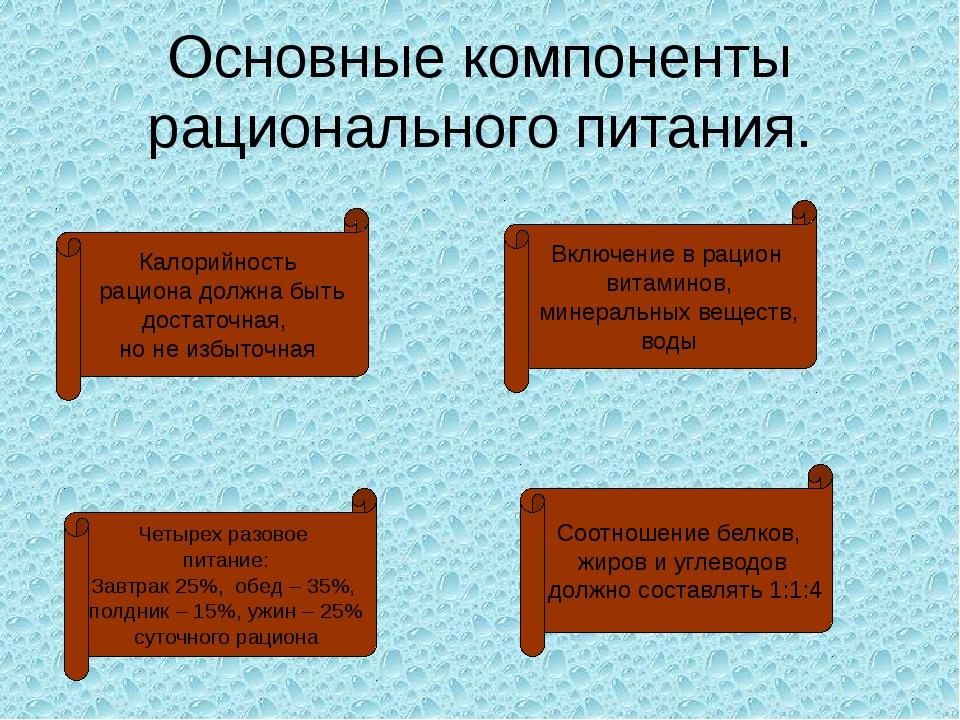 Основные компоненты рационального питания. Калорийность рациона должна быть д...