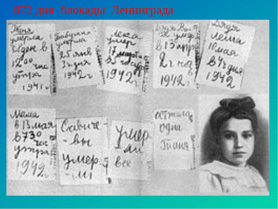 872 дня блокады Ленинграда