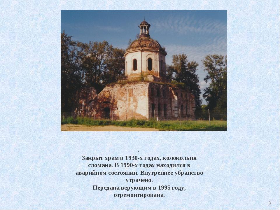 . Закрыт храм в 1930-х годах, колокольня сломана. В 1990-х годах находился в...