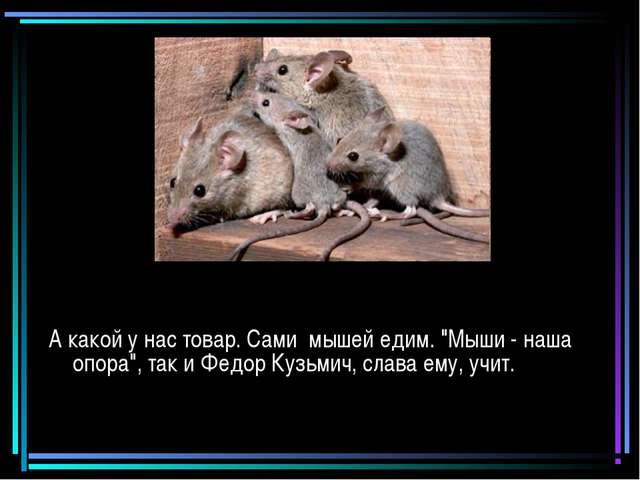 """А какой у нас товар. Сами мышей едим. """"Мыши - наша опора"""", так и Федор Кузьми..."""