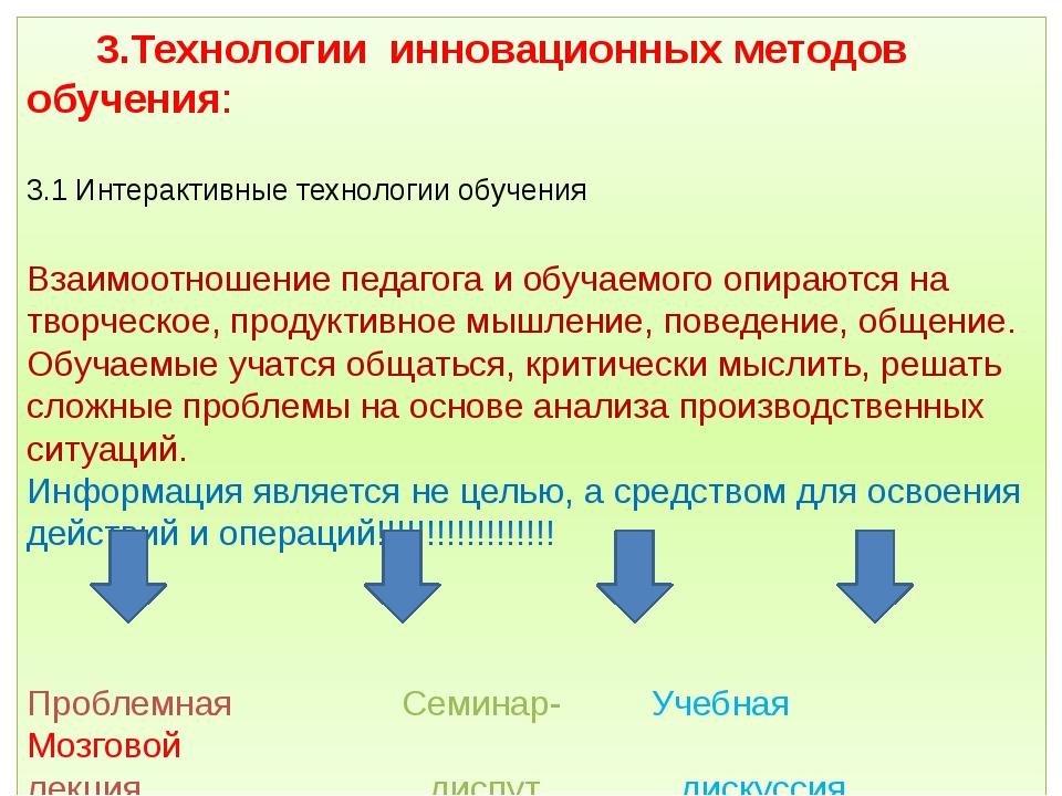 3.Технологии инновационных методов обучения: 3.1 Интерактивные технологии об...