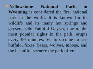 Yellowstone National Park in Wyoming is considered the first national park in