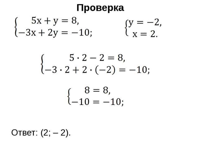 Проверка Ответ: (2; – 2).
