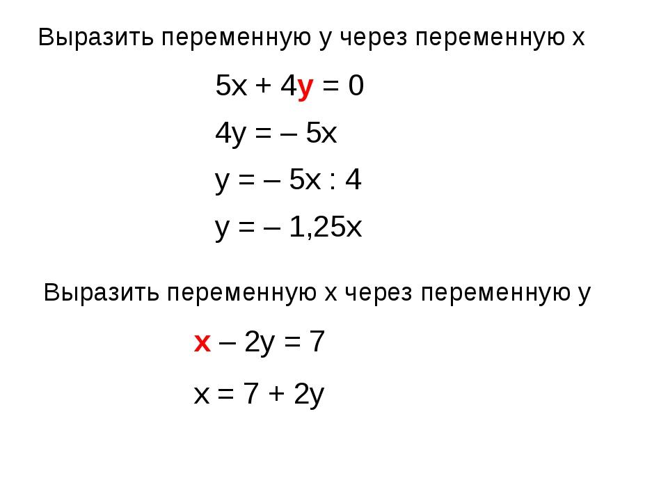 Выразить переменную x через переменную y Выразить переменную y через переменн...