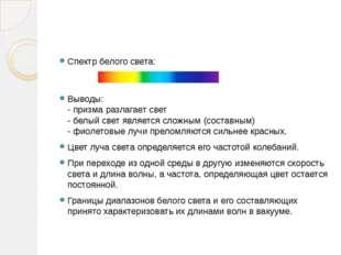 Спектр белого света: Выводы: - призма разлагает свет - белый свет является с