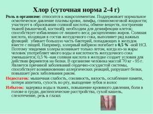 Хлор (суточная норма 2-4 г) Роль в организме: относится к макроэлементам. По