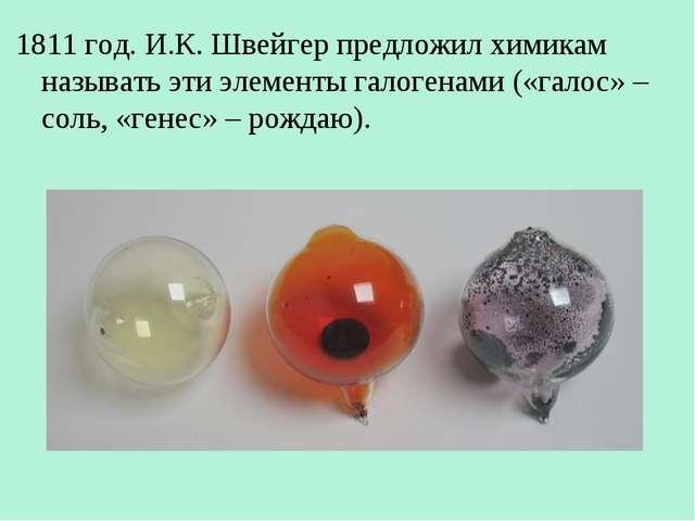 1811 год. И.К. Швейгер предложил химикам называть эти элементы галогенами («г...