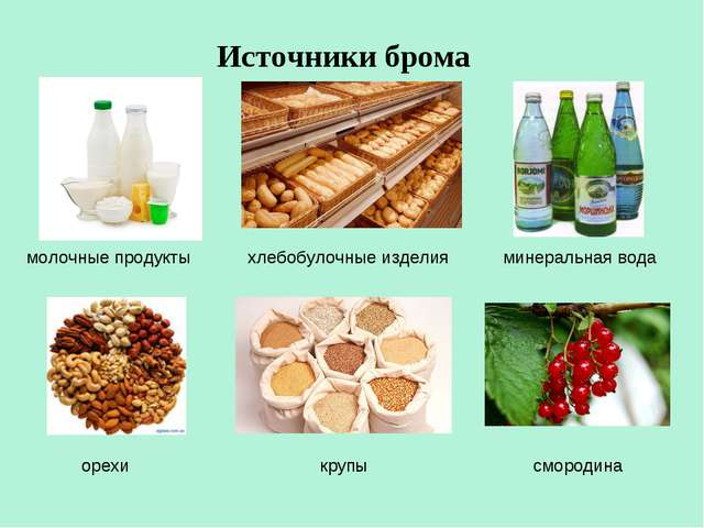 Источники брома молочные продукты хлебобулочные изделия минеральная вода орех...
