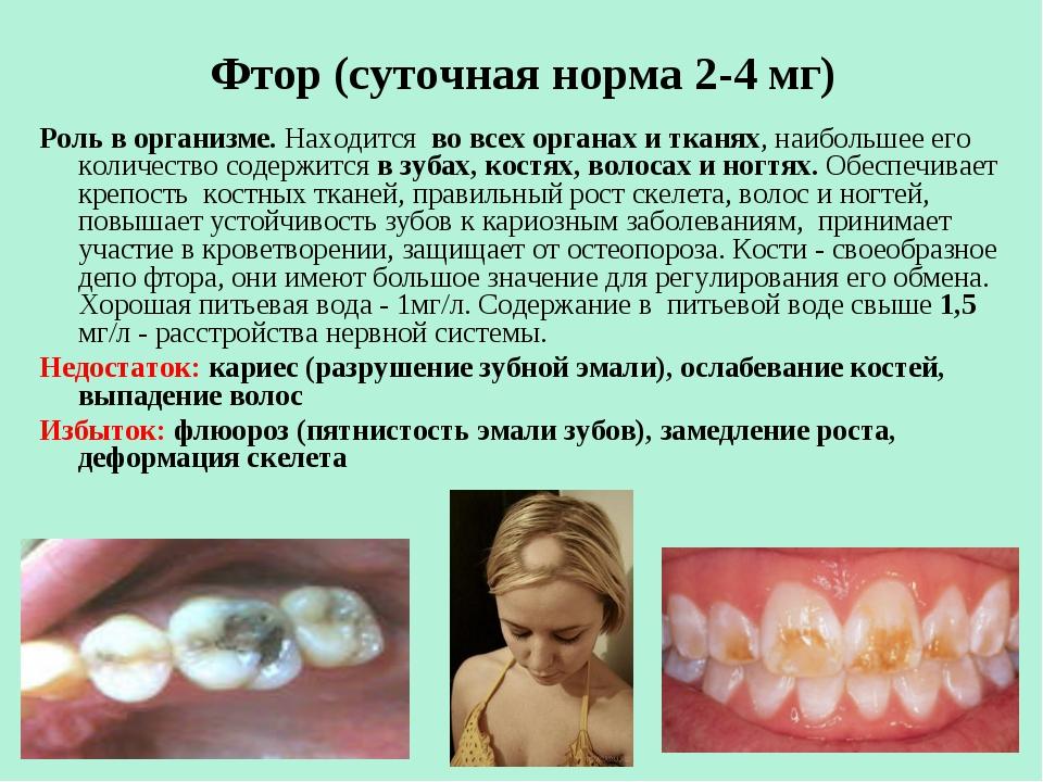 Фтор (суточная норма 2-4 мг) Роль в организме. Находится во всех органах и т...
