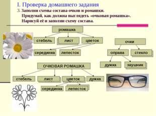 лист I. Проверка домашнего задания 3. Заполни схемы состава очков и ромашки.