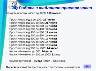 4) Робота з таблицею простих чисел Кількість простих чисел до 1000: 168 чисел