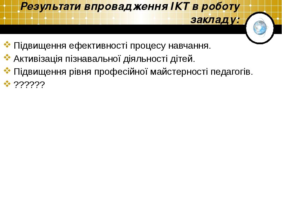 Результати впровадження ІКТ в роботу закладу: Підвищення ефективності процесу...