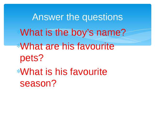 What is the boy's name? What are his favourite pets? What is his favourite se...