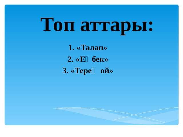 Топ аттары: 1. «Талап» 2. «Еңбек» 3. «Терең ой»