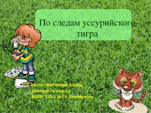 По следам уссурийского тигра Автор: Милюкова Алина, ученица 2а класса МБОУ СО