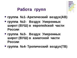 Работа групп группа №1- Арктический воздух(АВ) группа №2- Воздух Умеренных ш