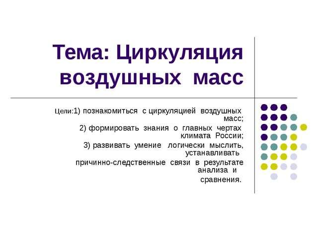 Тема: Циркуляция воздушных масс Цели:1) познакомиться с циркуляцией воздушных...