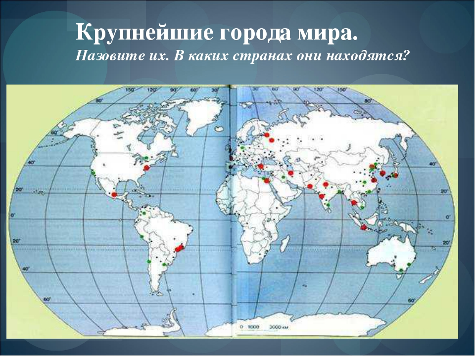 Крупнейшие города мира. Назовите их. В каких странах они находятся?