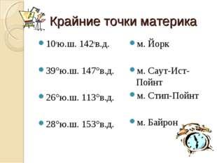 Крайние точки материка 10ою.ш. 142ов.д. 39°ю.ш. 147°в.д. 26°ю.ш. 113°в.д. 28°