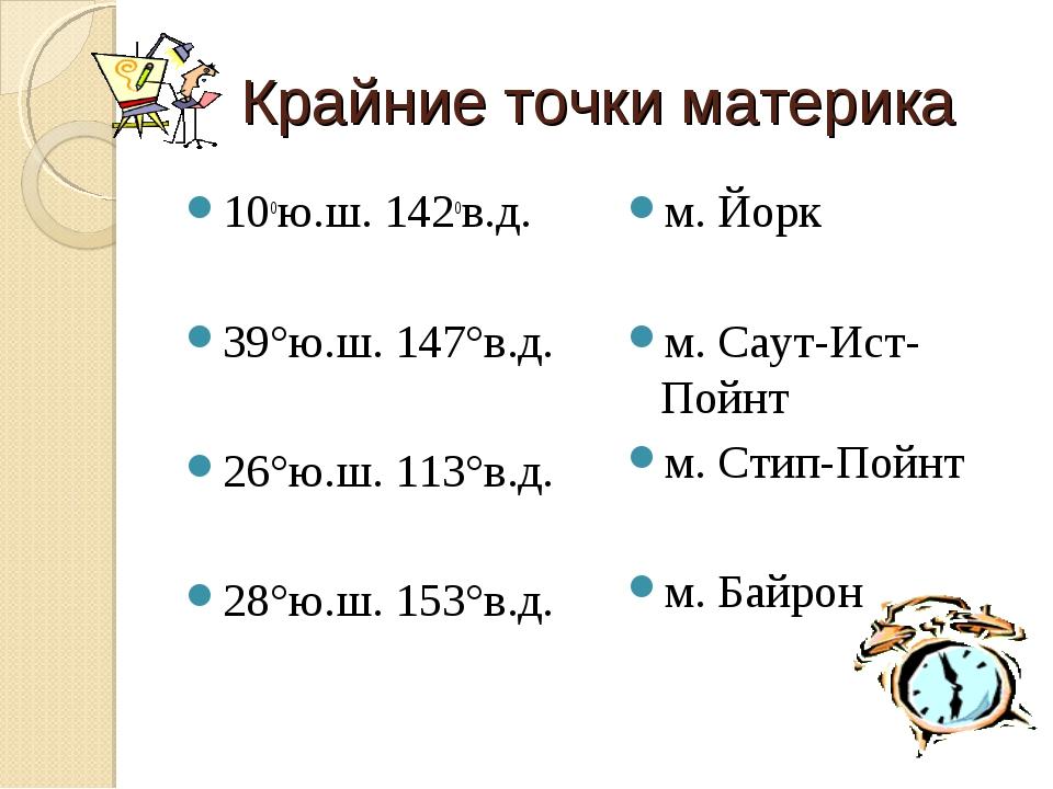 Крайние точки материка 10ою.ш. 142ов.д. 39°ю.ш. 147°в.д. 26°ю.ш. 113°в.д. 28°...