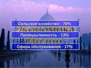 Промышленность - 13% Сельское хозяйство - 70% Сфера обслуживания - 17%