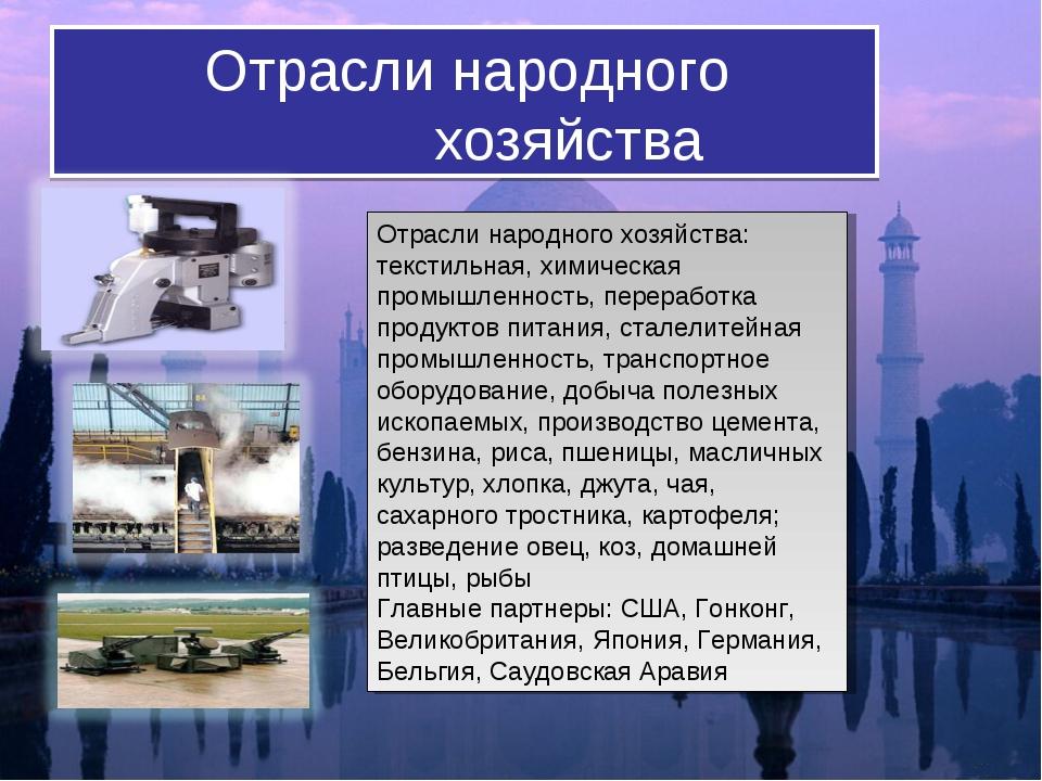 Отрасли народного хозяйства Отрасли народного хозяйcтва: текстильная, хим...