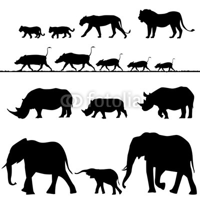 Африканские животные, векторные силуэты Клипарты, векторы, и…