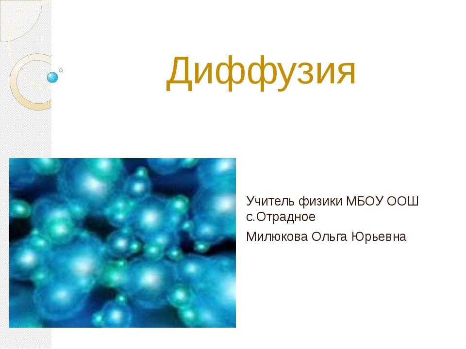 Диффузия Учитель физики МБОУ ООШ с.Отрадное Милюкова Ольга Юрьевна