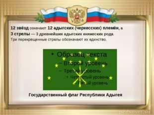 12 звёзд означают 12 адыгских(черкесских) племён, а 3 стрелы — 3 древнейших