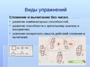 Виды упражнений Сложение и вычитание без чисел. развитие комбинаторных способ