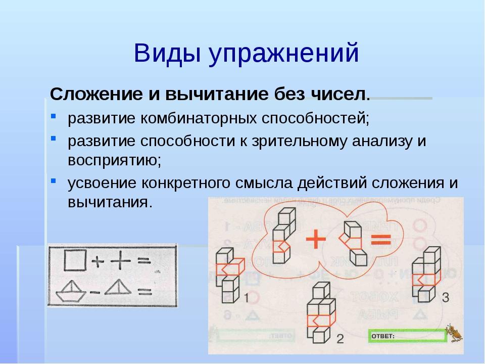 Виды упражнений Сложение и вычитание без чисел. развитие комбинаторных способ...
